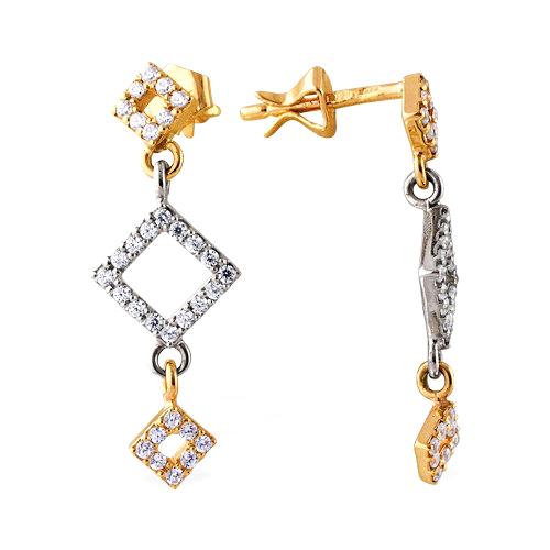 Серьги-пусеты из комбинированного золота с фианитами