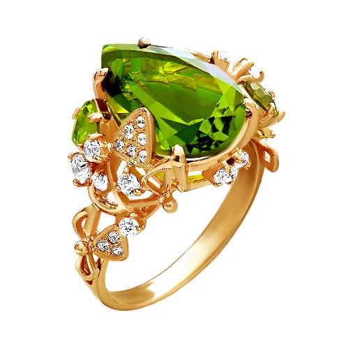 Кольцо из золота с султанитом, хризолитами и фианитами