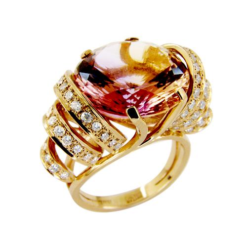 Кольцо из золота с бриллиантами и аметрином