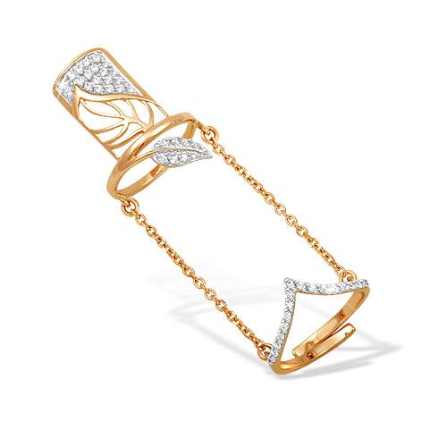 Кольцо из золота на две фаланги с фианитами