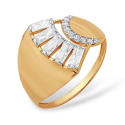 Объемное кольцо с фианитами из золота