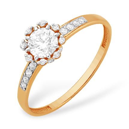 Кольцо из красного золота с кристаллом Сваровски и фианитами