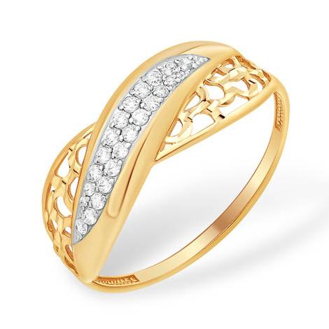 Золоте кольцо с узорами и дорожками из фианитов