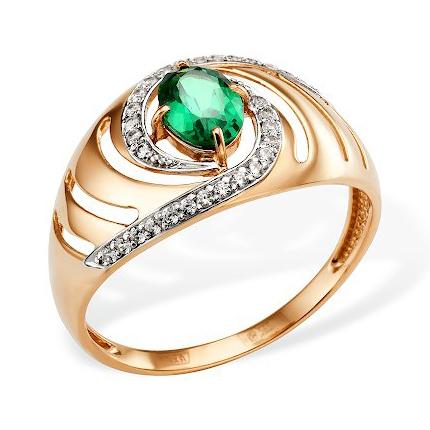 Кольцо из золота с наноизумрудом