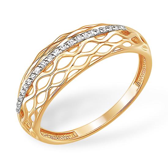 Лёгкое золотое кольцо с фианитовой дорожкой