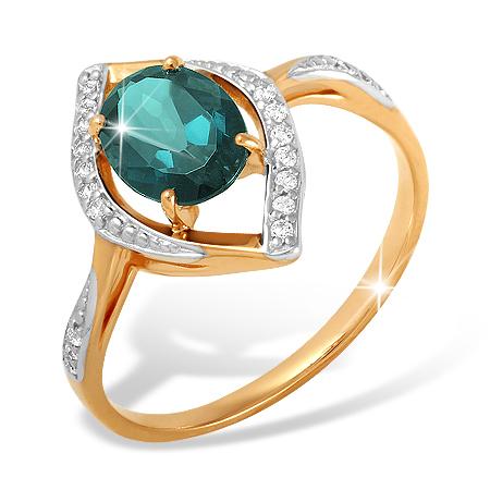 Кольцо из красного золота с Лондон топазом и фианитами