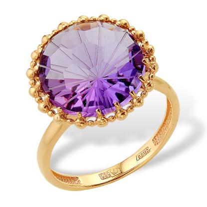 Золотое кольцо с очень крупным аметистом