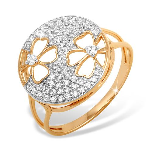 """Кольцо """"цветы"""" из золота с фианитами"""
