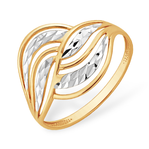 Кольцо из комбинированного золота с алмазной гранью
