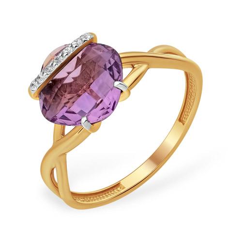 Изящное золотое кольцо с аметистом и фианитами