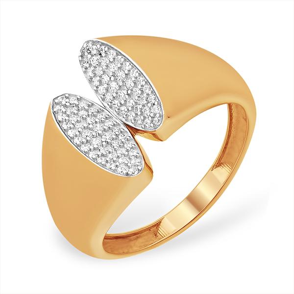 Оригинальное кольцо из золота с фианитами