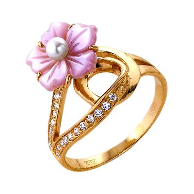 Кольцо из золота с розовым перламутром, жемчугом и фианитами