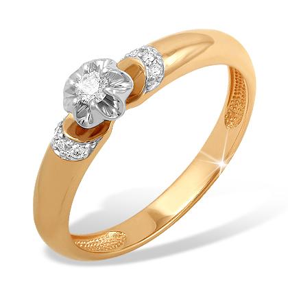 """Золотое кольцо """"цветочек"""" с бриллиантом"""