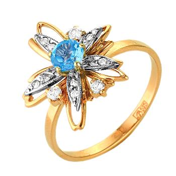 """Кольцо """"звезда"""" из золота с топазом и фианитами"""