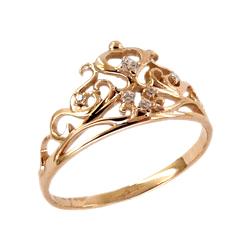 """Кольцо из золота """"корона"""" с фианитами"""