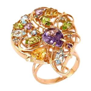 Кольцо из золота с аметистами, топазами, хризолитами и цитринами