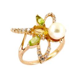 Кольцо из золота с жемчугом, цитрином, хризолитами и фианитами