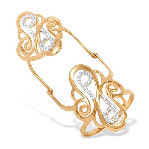 Кольцо на две фаланги из золота с фианитами