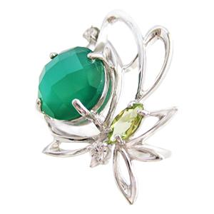Серебряное кольцо с зеленым агатом, хризолитом и фианитами