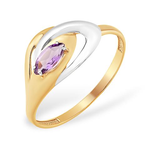 Золотое кольцо с аметистом и родиевым покрытием