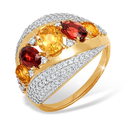 Золотое кольцо с цитринами, гранатами и фианитами