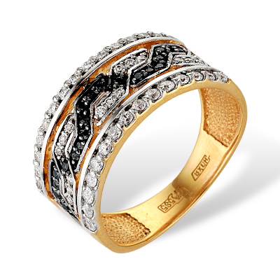 Золотое кольцо с черными и белыми фианитами