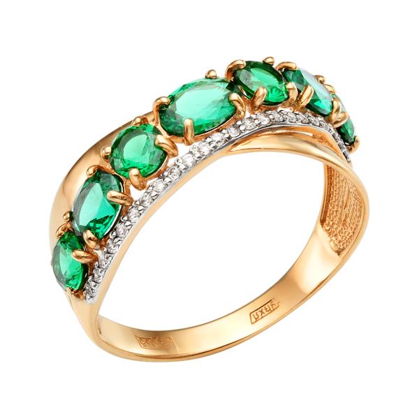 Золоте кольцо с изумрудом и дорожкой из бесцветных финаитов