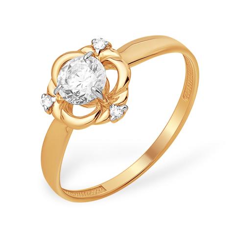 Кольцо из золота с кристаллом Swarovski и бесцветными фианитами