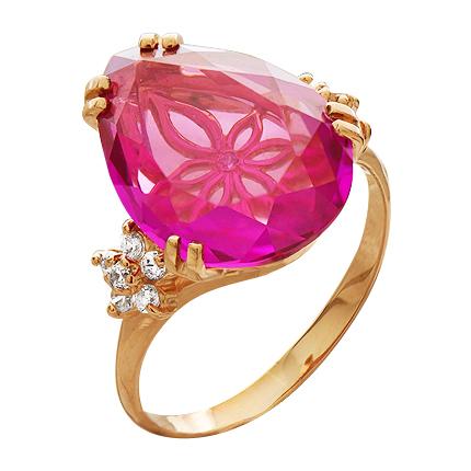 Кольцо из золота с кунцитом и фианитами