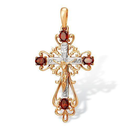 Золотой православный крестик с гранатами