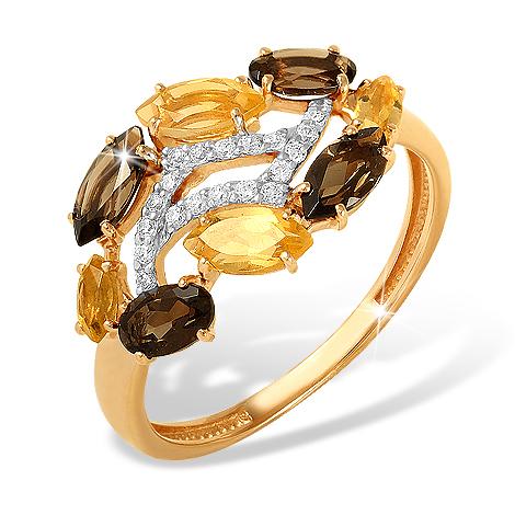 Золотое кольцо с раух-топазами, цитринами и фианитами