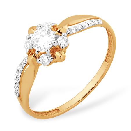 Золотое кольцо с кристаллом Swarovski и фианитами