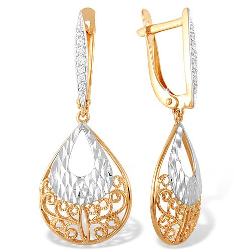 Длинные серьги из золота с фианитами и алмазной гранью