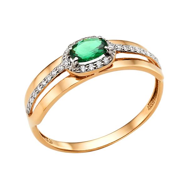 Золотое кольцо с изумрудом и фианитами