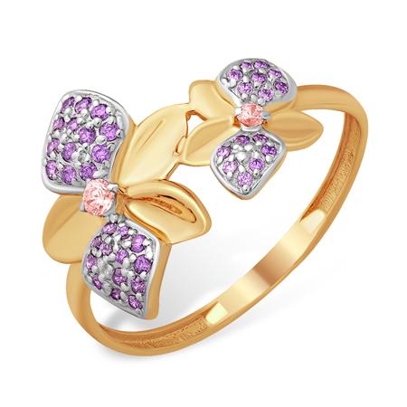 """Кольцо """"цветы с аметистовыми лепестками"""""""