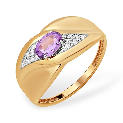 Широкое золотое кольцо с аметистом и фианитами