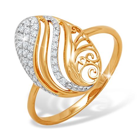 Овальное кольцо с фианитами