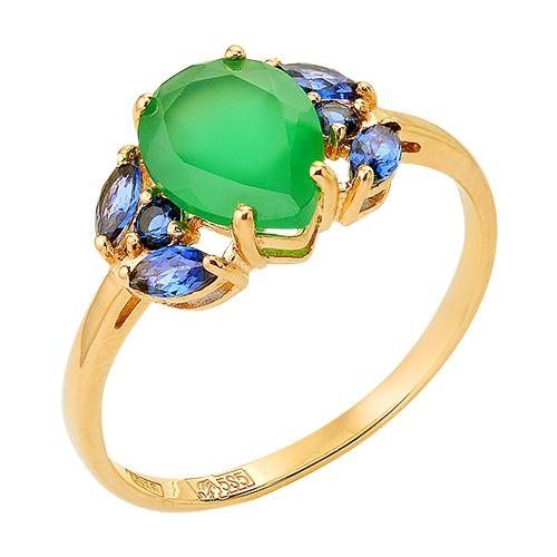 Кольцо из золота с зеленым агатом и синими фианитами