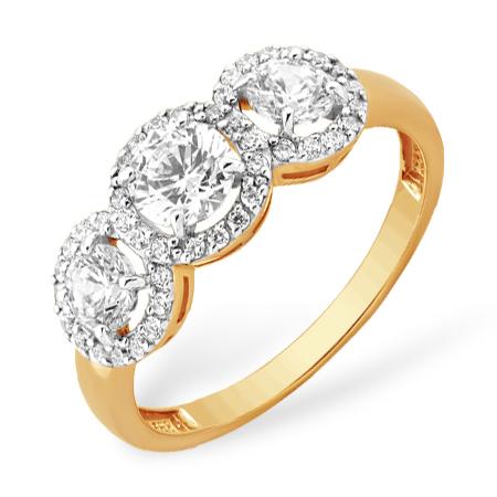 Золотое кольцо со кристаллами Сваровски и фианитами
