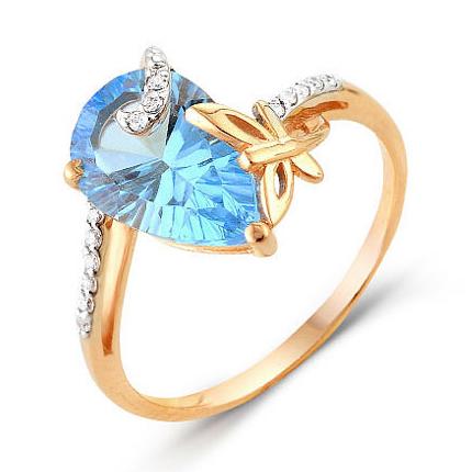 Кольцо из золота с голубым топазом и фианитами с элементом бабочка