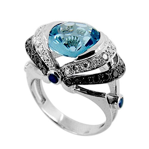Кольцо из белого золота белыми и черными бриллиантами и топазом