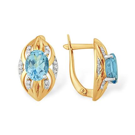 Золотые серьги с голубым топазом и фианитами