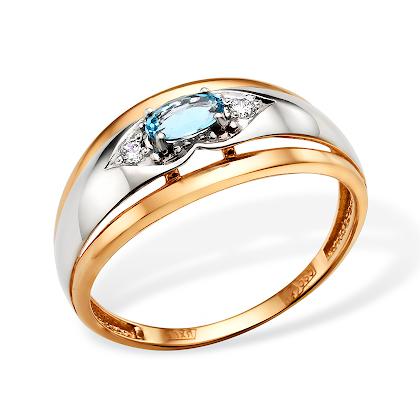 Золотое кольцо с родированием и топазом