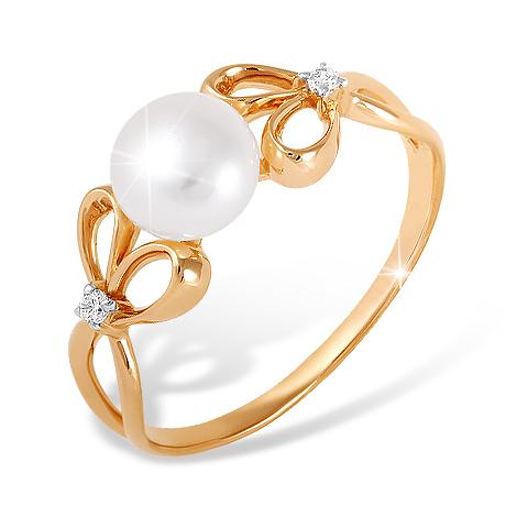 Лёгкое кольцо из золота с жемчугом с фианитами