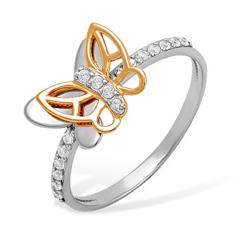 """Кольцо из белого и красного золота """"бабочки"""" с фианитами"""