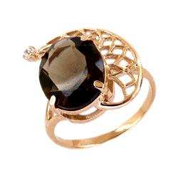 Золотое кольцо с раух-топазом и фианитом