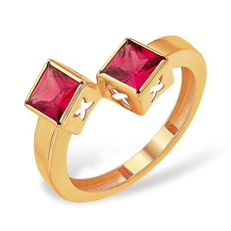 Кольцо необычного дизайна с рубиновыми фианитами