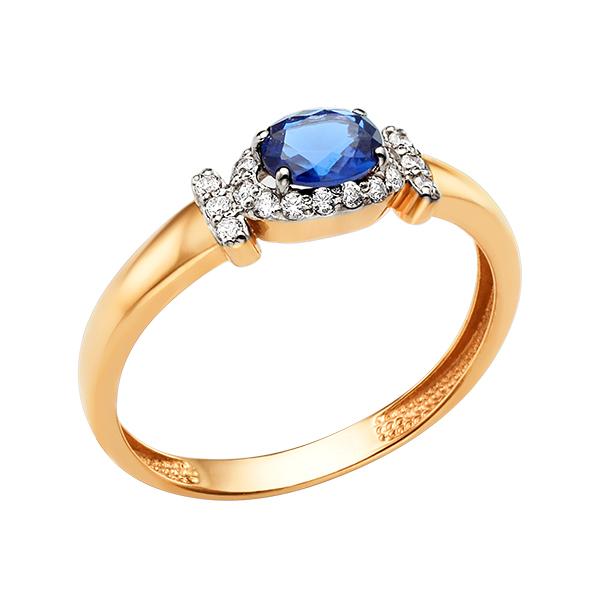 Золотое кольцо с сапфиром фианитами