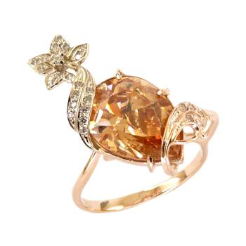 Кольцо из золота с желтым и белыми фианитами