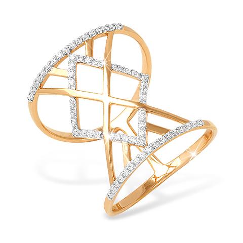Винтажное кольцо из золота с фианитами